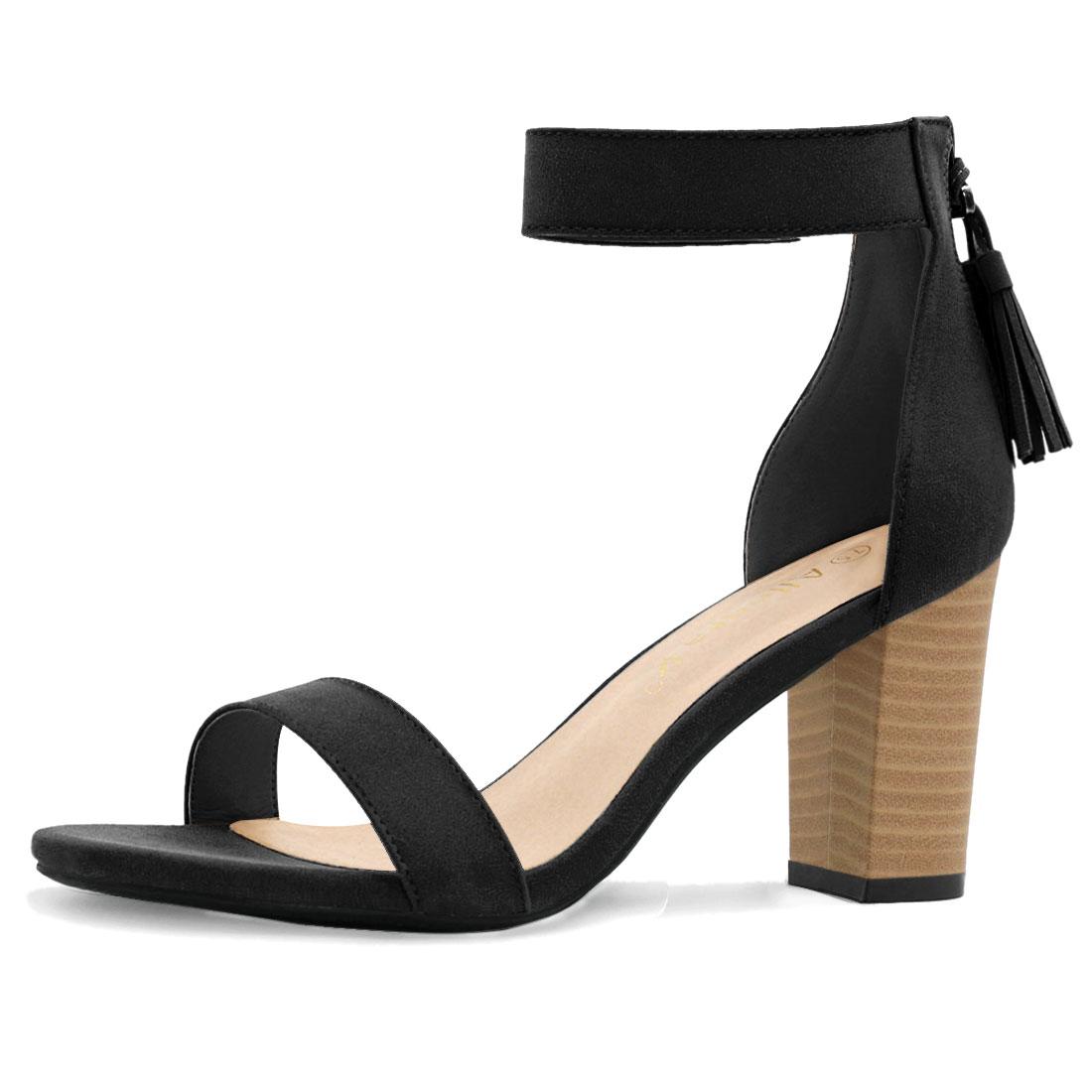 Women Open Toe Tassel Stacked Heel Ankle Strap Sandals Black US 8.5