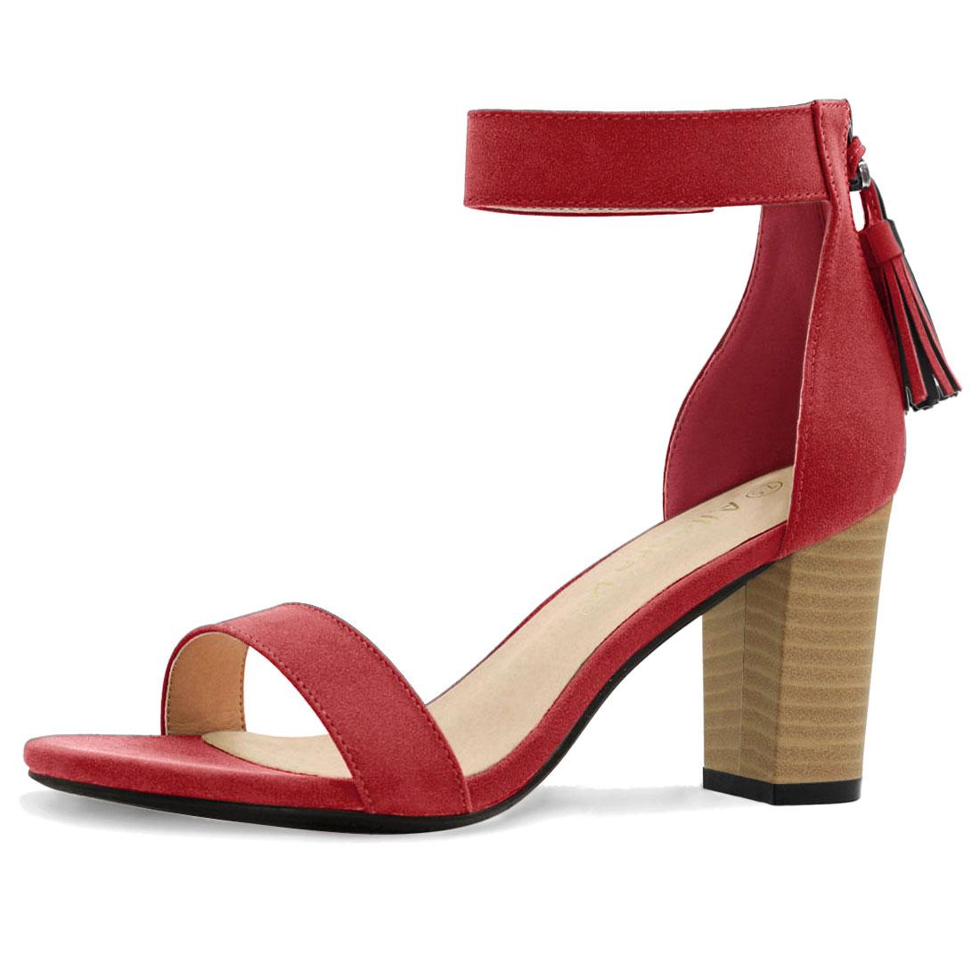 Women Open Toe Tassel Stacked Heel Ankle Strap Sandals Red US 7