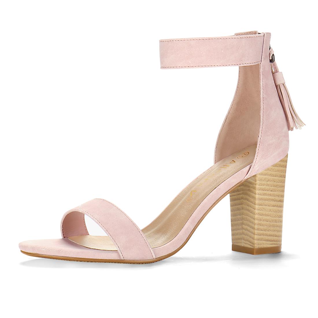 Women Open Toe Tassel Stacked Heel Ankle Strap Sandals Light Pink US 11