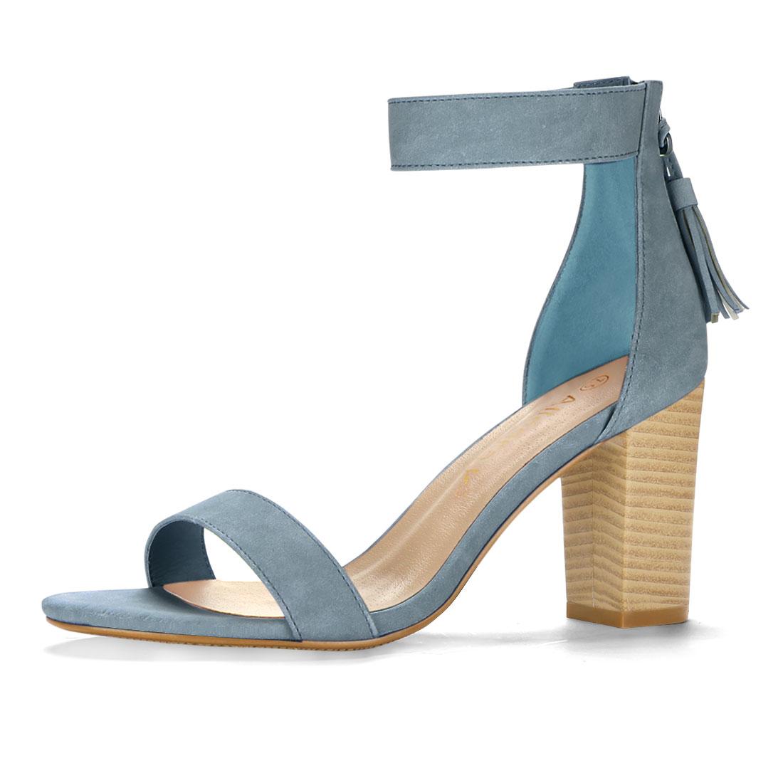 Women Open Toe Tassel Stacked Heel Ankle Strap Sandals Denim Blue US 6