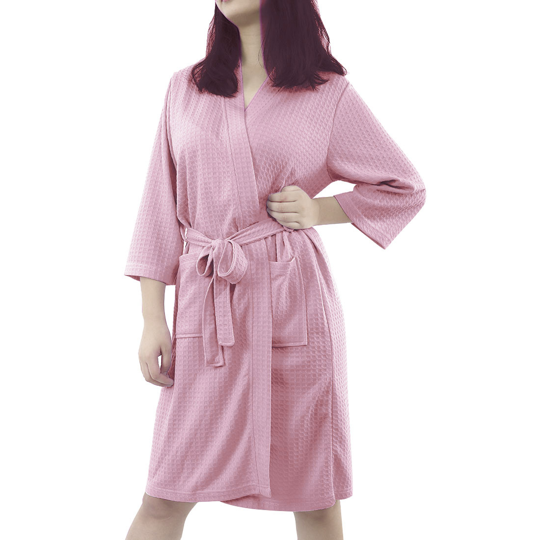 Women's 100% Polyester Lightweight Soft Warm Kimono Short Robe XL Pink