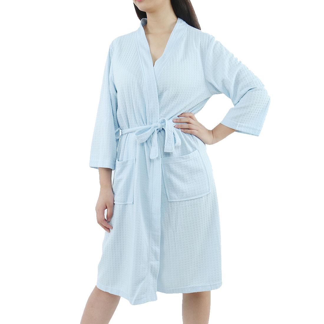 Women's Turkish Cotton Lightweight Soft Warm Kimono Short Robe XL Blue