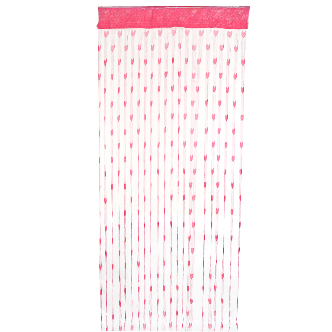 Household Polyester Heart Pattern Door Ornament Hanging String Curtain Fuchsia