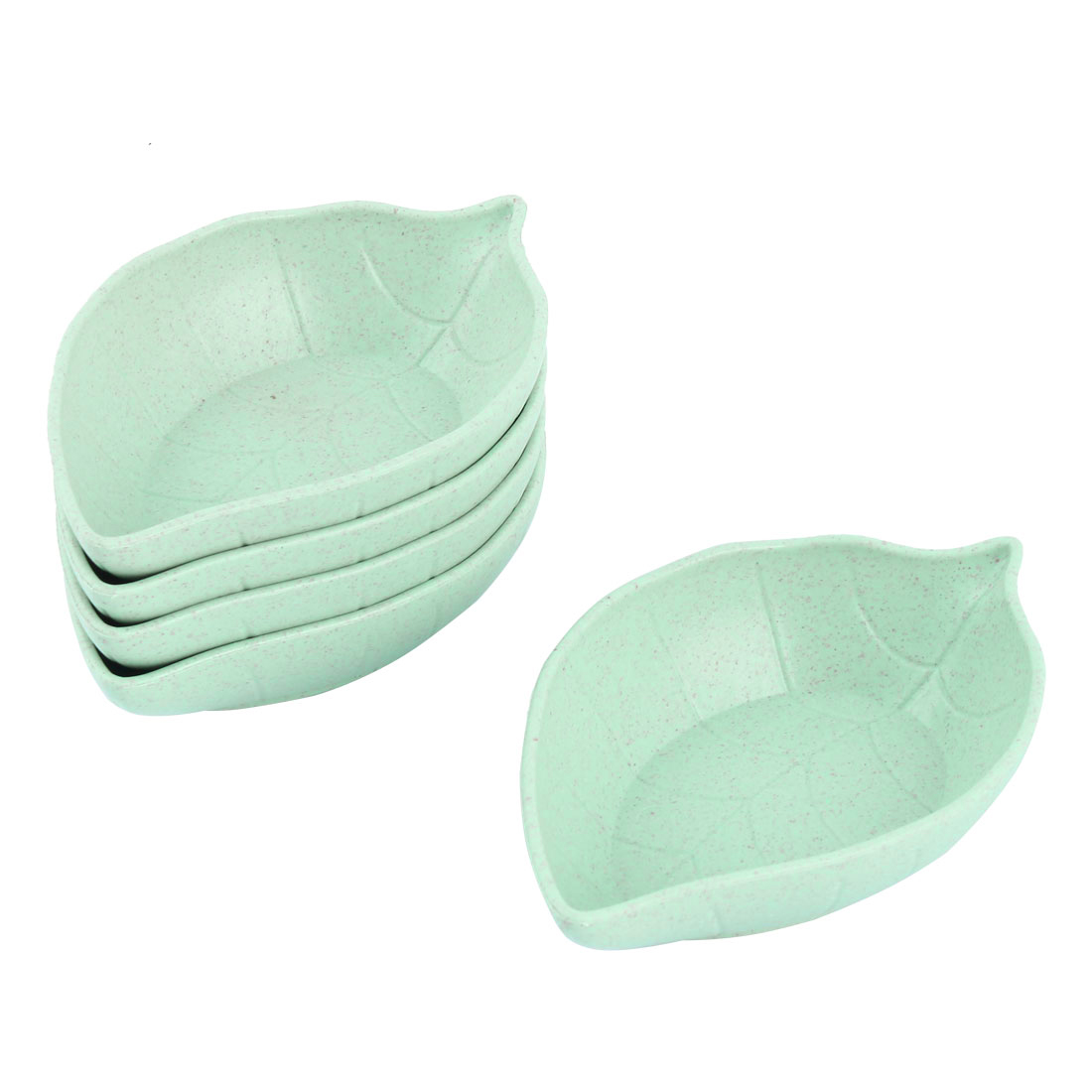 Household Kitchen Plastic Leaf Design Snack Food Sauce Dish Saucer Green 5pcs