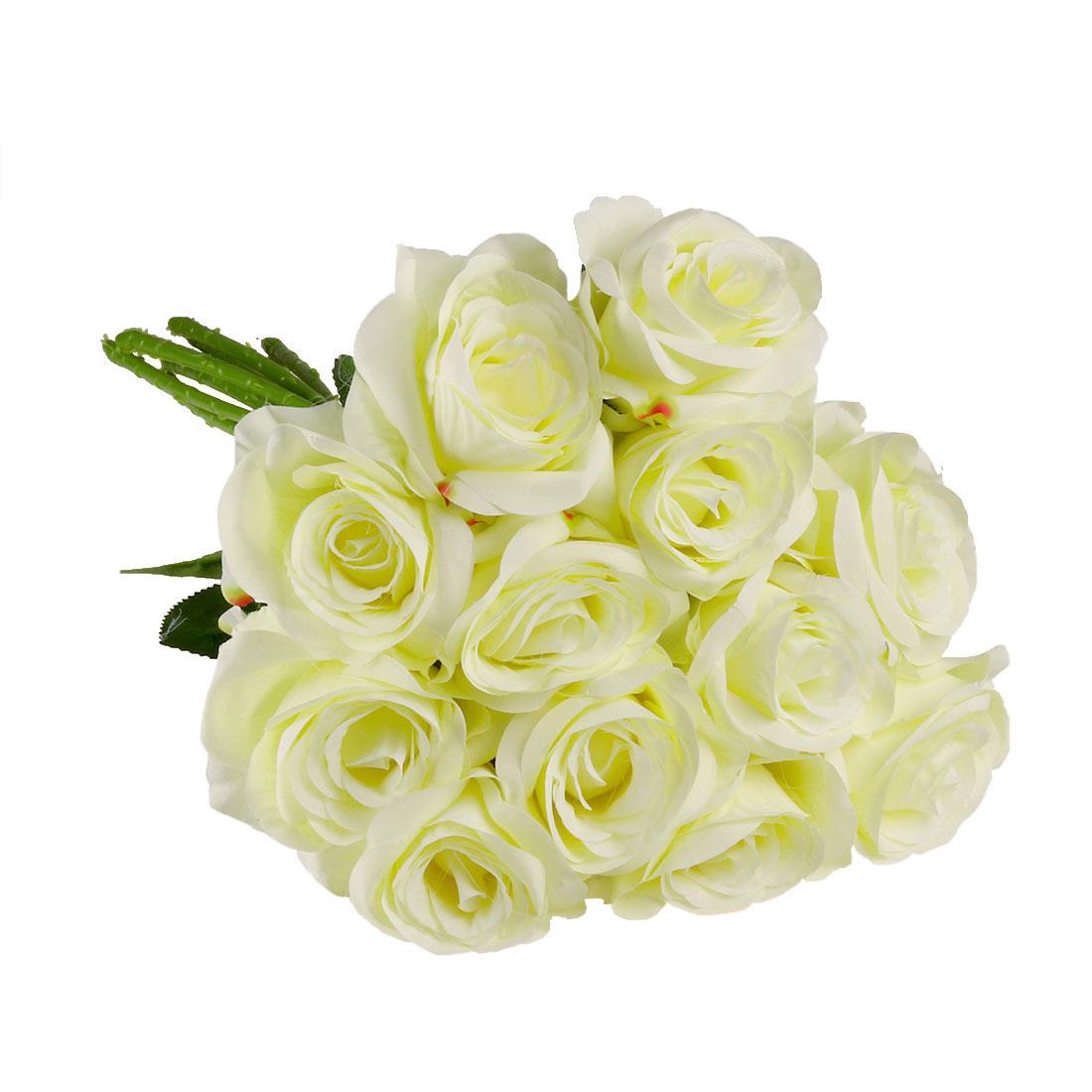 Artificial Silk Rose Flowers Rose Bouquet Wedding Home Decor Light Yellow 12pcs