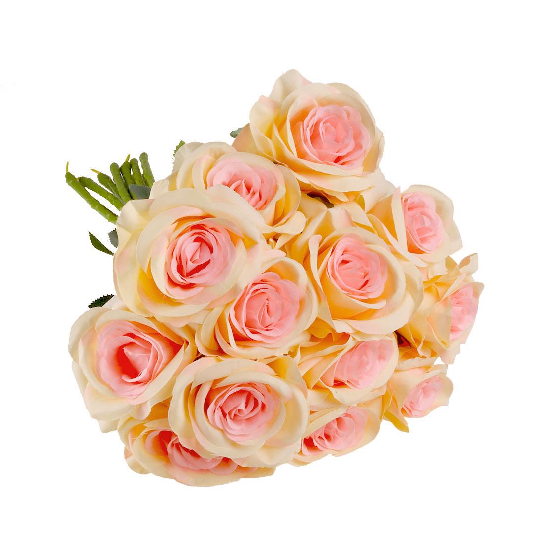 Artificial Silk Rose Flowers Bouquet Wedding Home Decor Champagne Color 12pcs