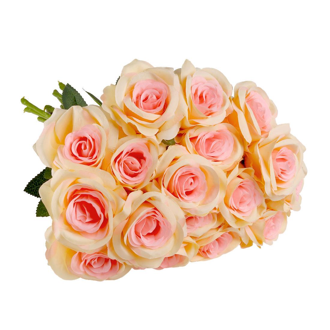 Artificial Silk Rose Flowers Bouquet Wedding Home Decor Champagne Color 18pcs