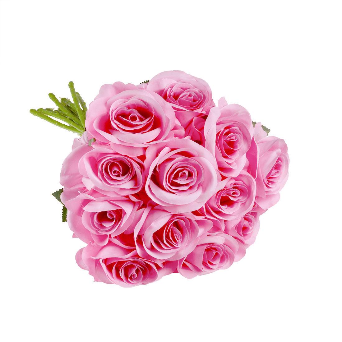 Artificial Silk Rose Flowers Rose Bouquet Wedding Home Decor Light Pink 12pcs