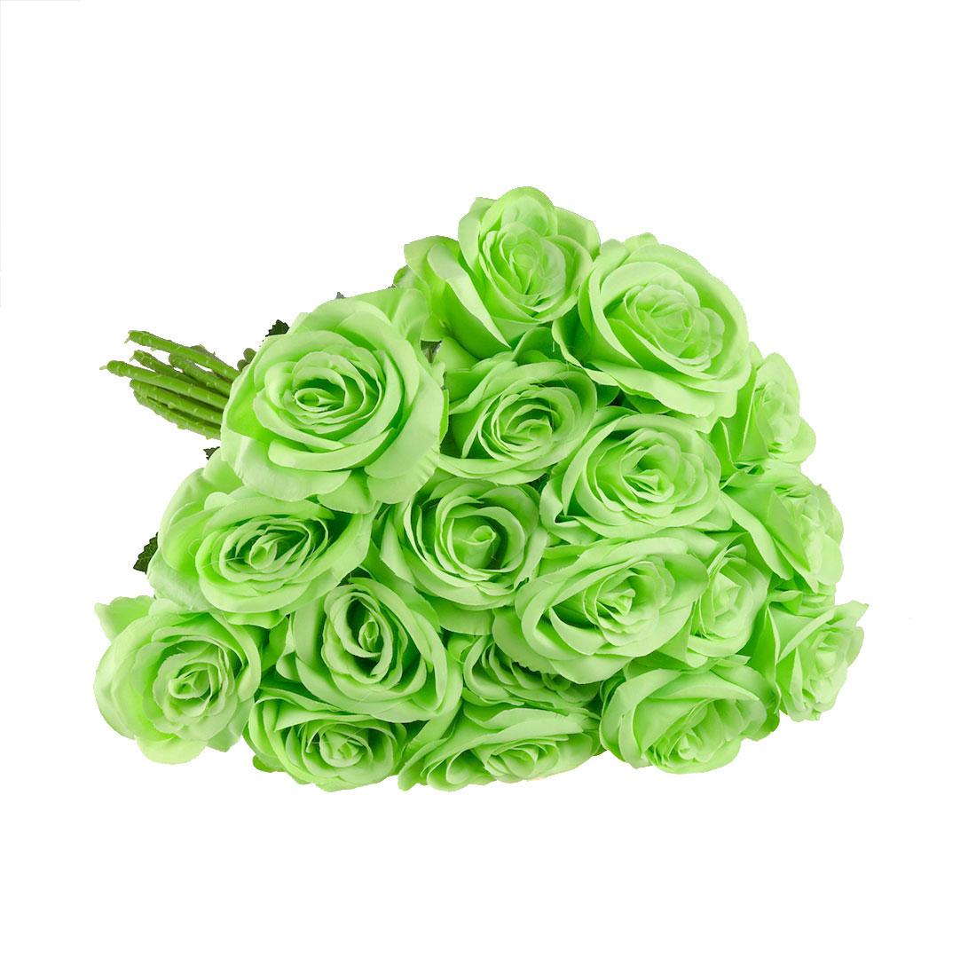 Artificial Silk Vintage Rose Flowers Bouquet Wedding Home Decoration Green 18pcs