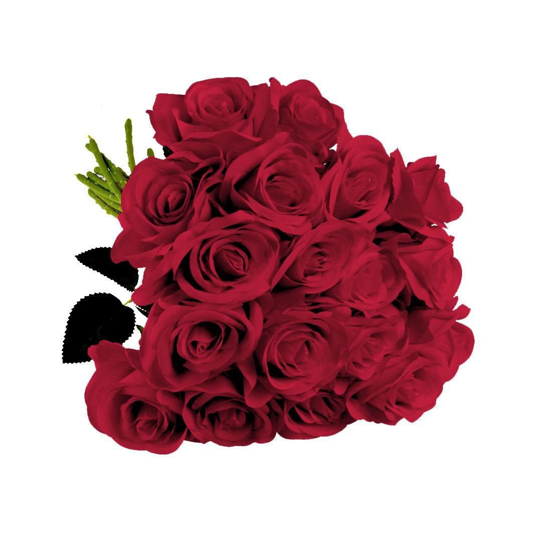 Artificial Silk Vintage Rose Flowers Bouquet Wedding Home Decoration Red 18pcs
