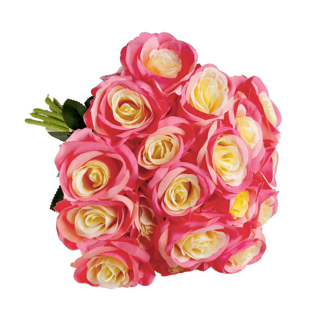 Artificial Silk Vintage Rose Flowers Bouquet Wedding Home Decor Pink Edge 18pcs