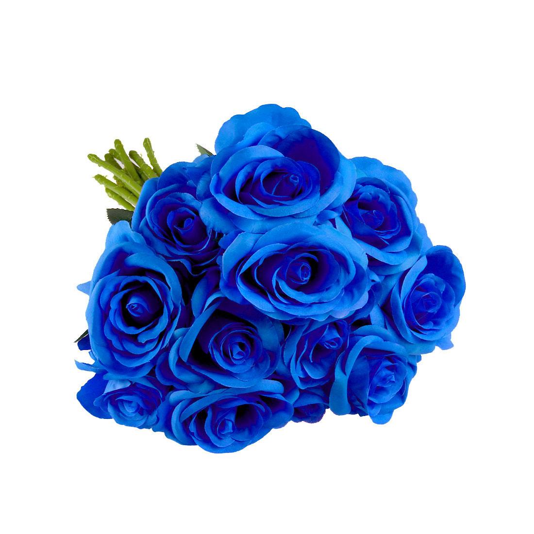 Artificial Silk Rose Flowers Rose Flower Bouquet Wedding Home Decor Blue 12pcs
