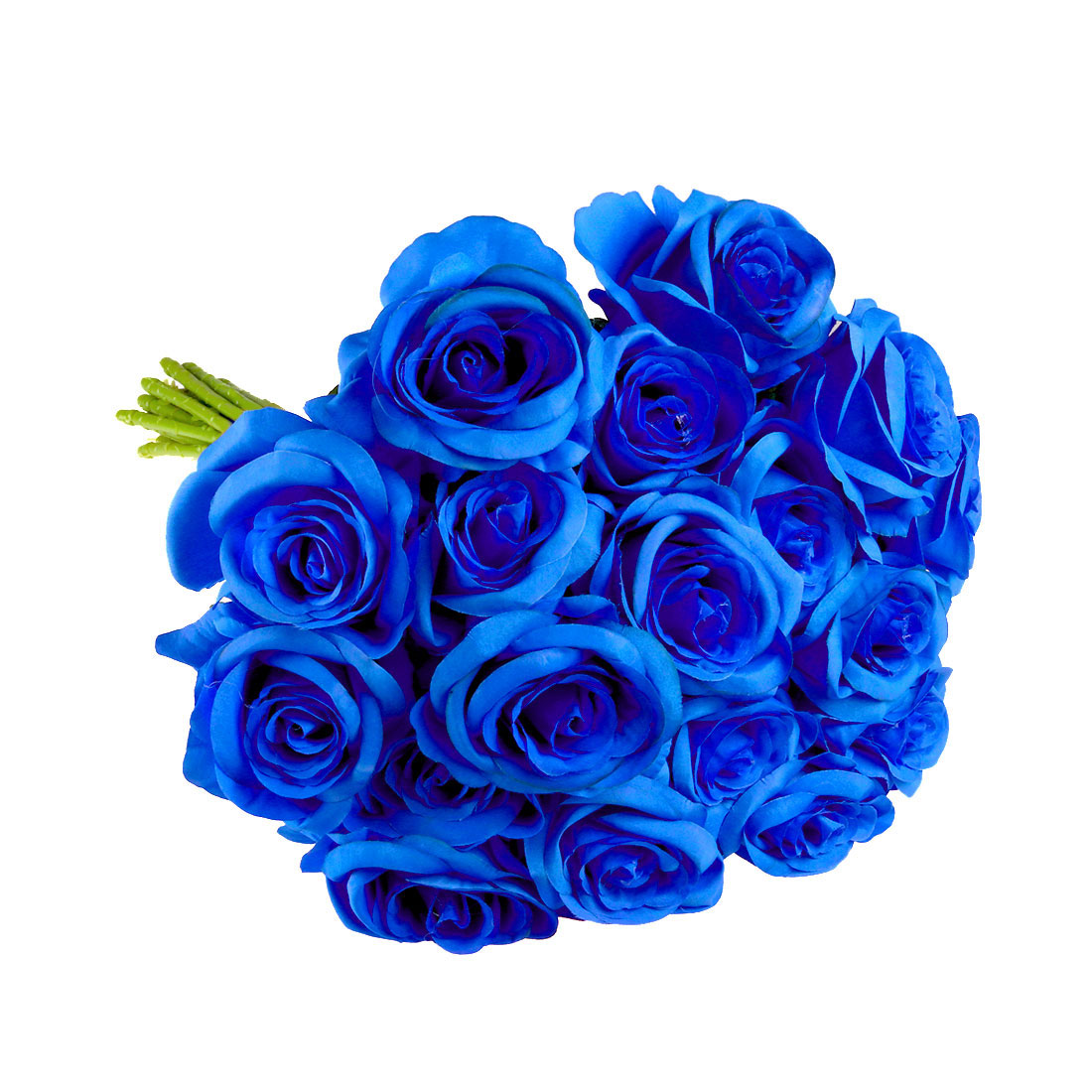 Artificial Silk Vintage Rose Flowers Bouquet Wedding Home Decoration Blue 18pcs
