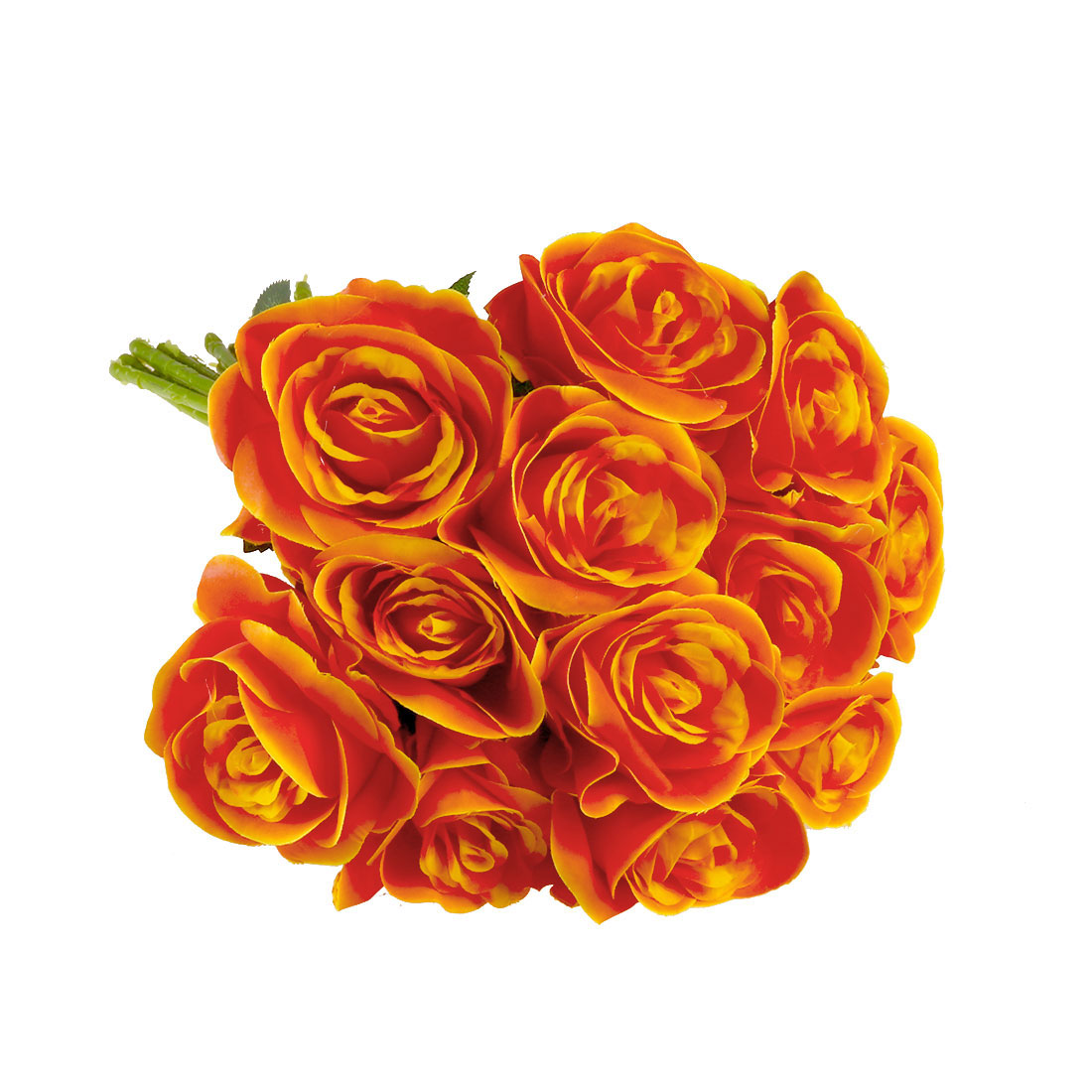 Artificial Silk Rose Flowers Rose Bouquet Wedding Home Decor Sunset Red 12pcs