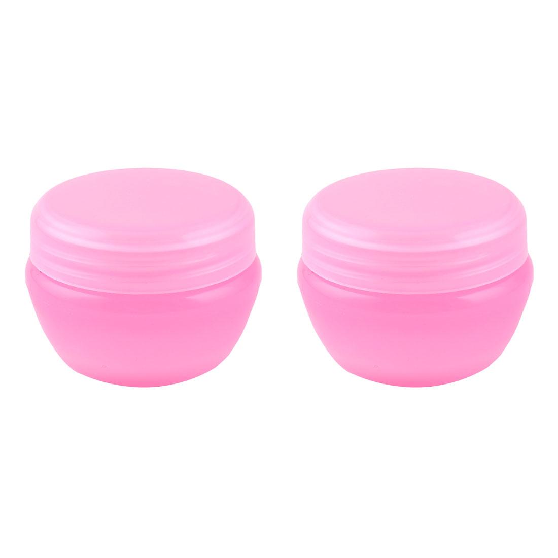 Travel Plastic Cream Container Cosmetic Storage Bottle Organizer Pink 25ml 2pcs