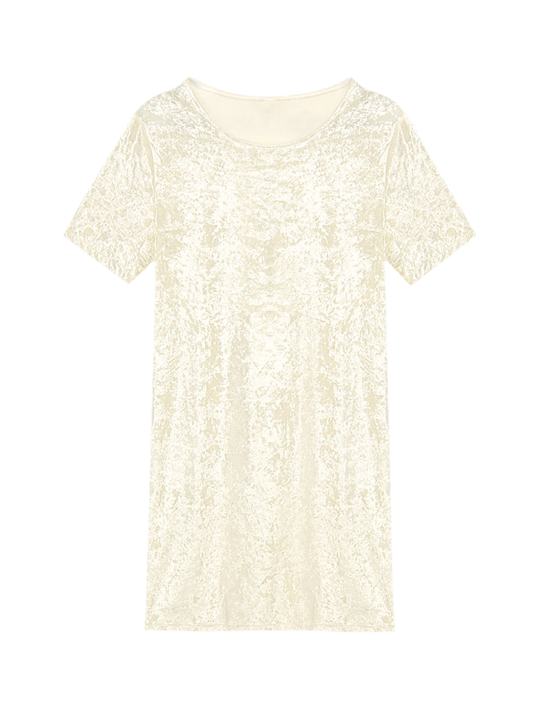 Women Short Sleeves Round Neck Velvet Mini Tee Dress Beige M