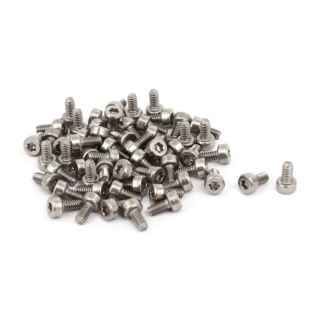 M2x4mm Thread T6 Torx Drive 304 Stainless Steel Torx Socket Head Cap Screw 60pcs