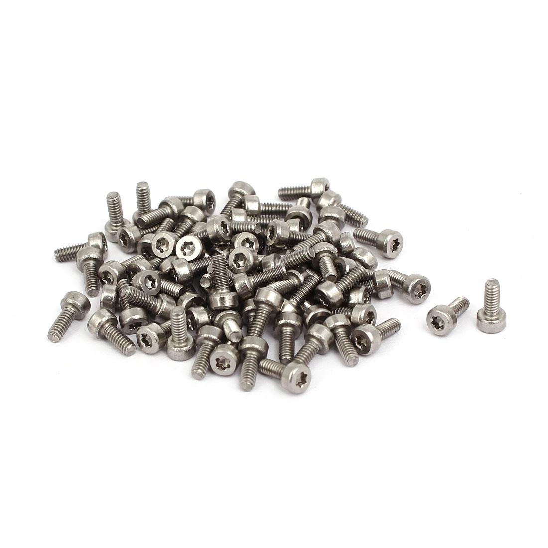 M2x5mm Thread T6 Torx Drive 304 Stainless Steel Torx Socket Head Cap Screw 80pcs
