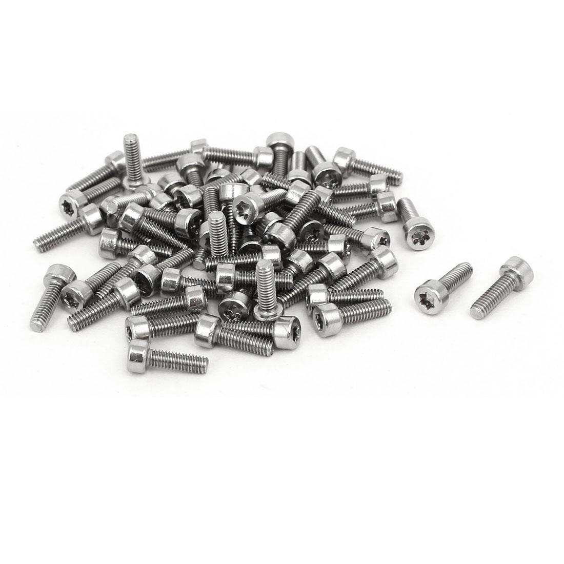 M2.5x8mm T8 Torx Drive 304 Stainless Steel Torx Socket Head Cap Screw 60pcs