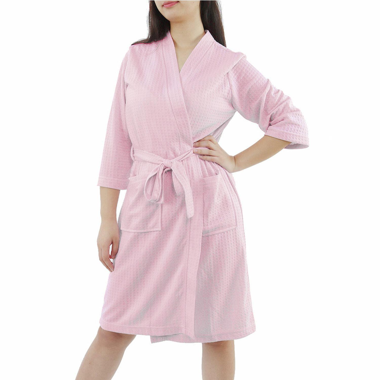 Women's 100% Polyester Lightweight Soft Warm Kimono Short Robe M Pink