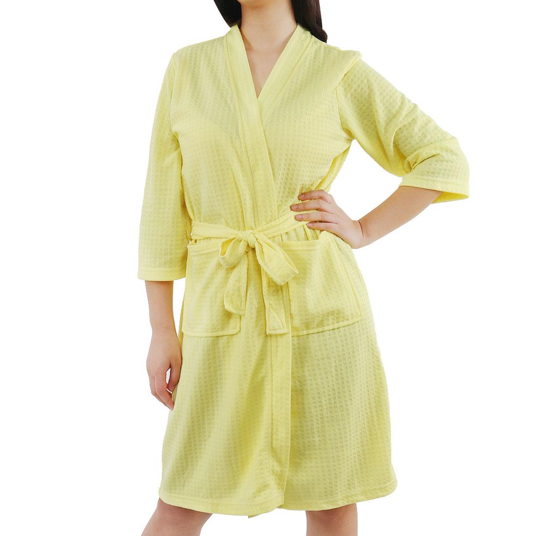 Women's Turkish Cotton Lightweight Soft Warm Kimono Short Robe M Yellow