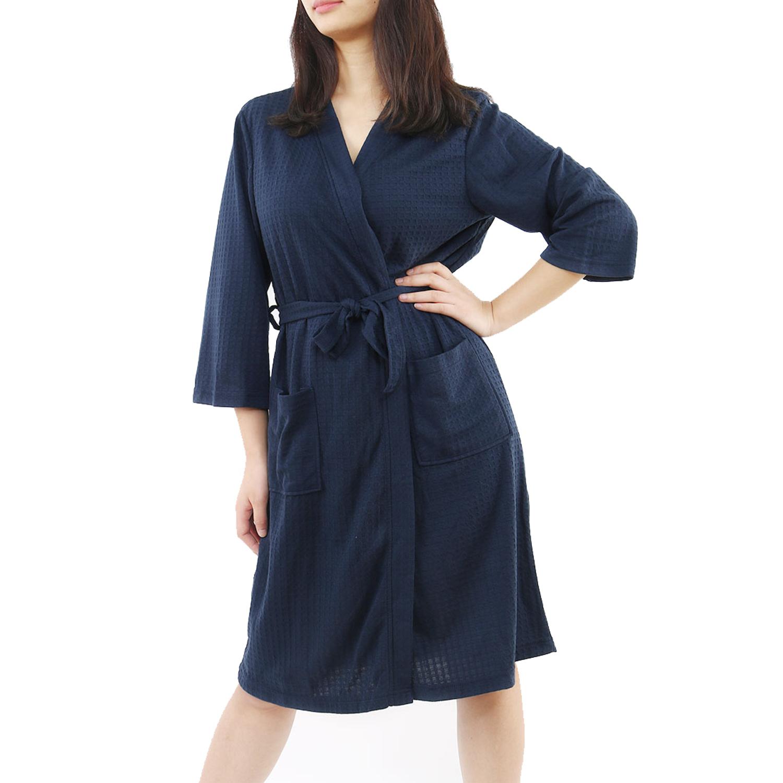 Women's 100% Polyester Lightweight Soft Warm Kimono Short Robe M Navy Blue