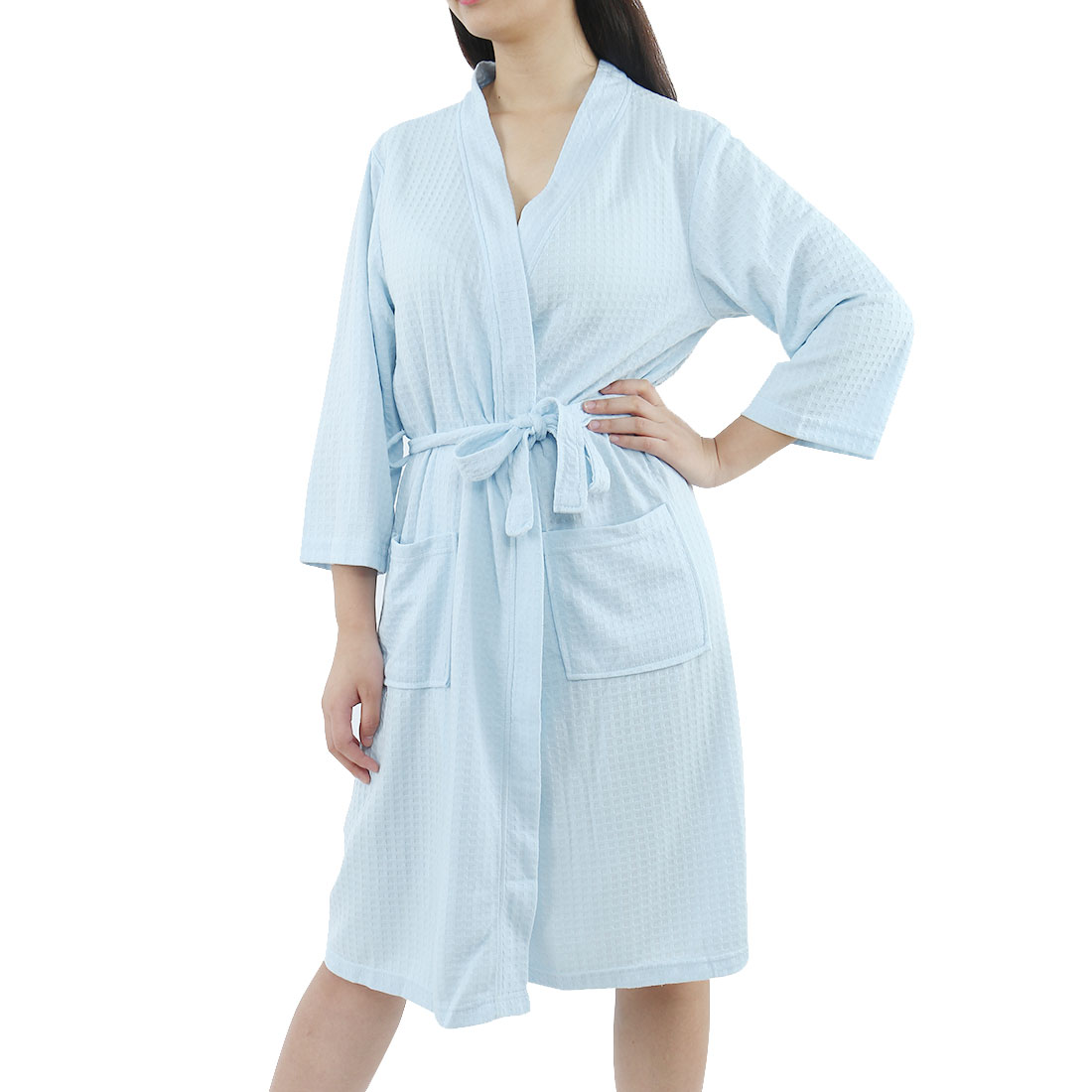 Women's Turkish Cotton Lightweight Soft Warm Kimono Short Robe M Blue