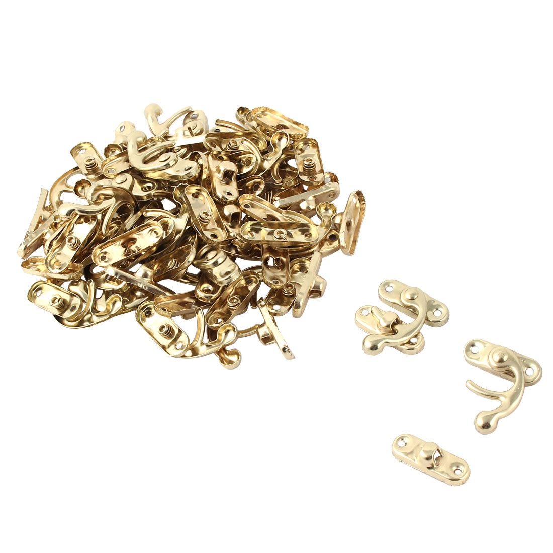 Home Metal Furniture Drawer Box Lock Clasp Closure Latch Handle Gold Tone 30 Pcs