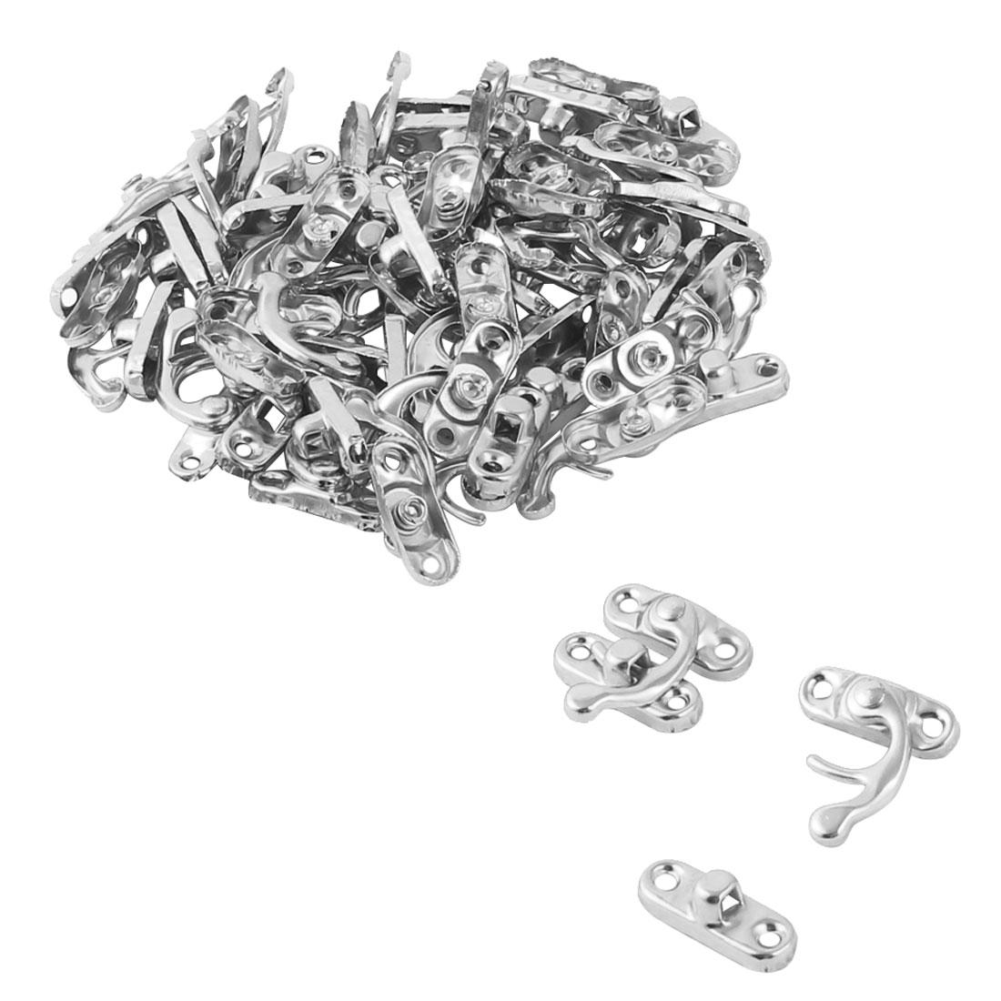 Metal Furniture Toolbox Drawer Box Lock Clasp Latch Handle Silver Tone 30 Pcs