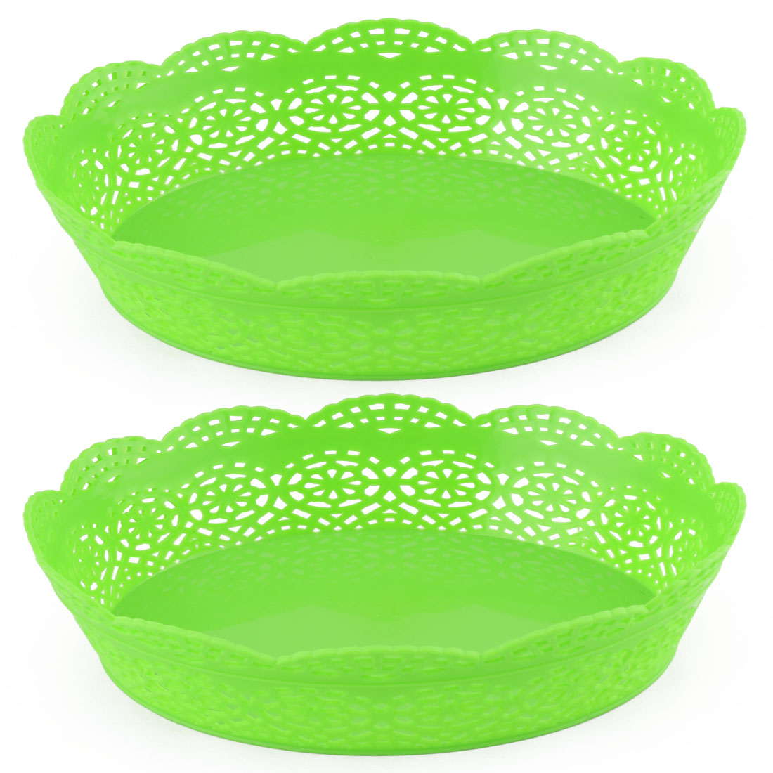 Home Plastic Flower Shaped Hollow Out Fruit Plate Vegetable Container Green 2pcs
