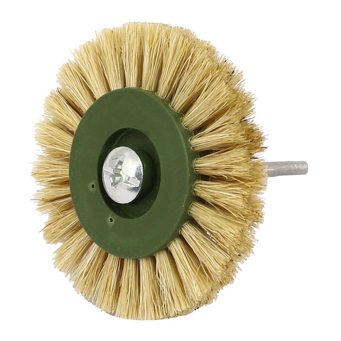60mm Dia Head 3mm Shank Plastic Hub Bristle Wheel Brush Jewelry Polishing Tool