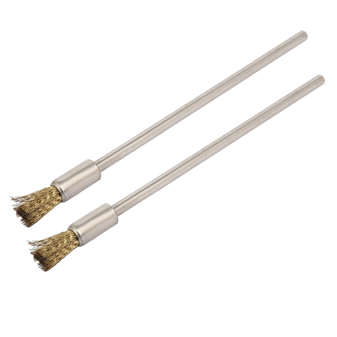 3mm Straight Shank 100mm Length Steel Wire Polishing Brush Gold Tone 2pcs