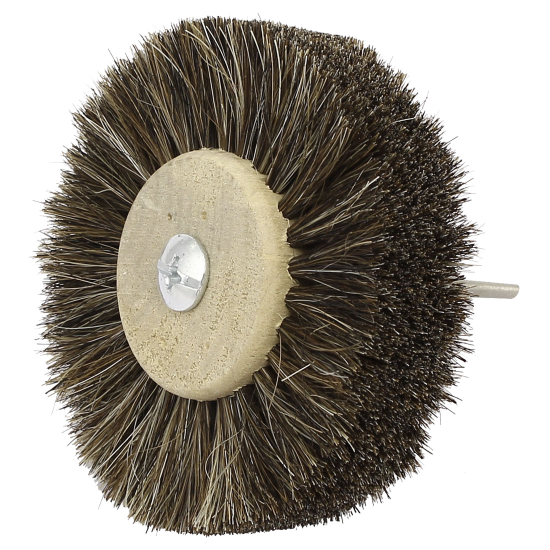 80mm Dia Head 3mm Shank Wooden Hub Horse Wheel Brush Jewelry Polishing Tool