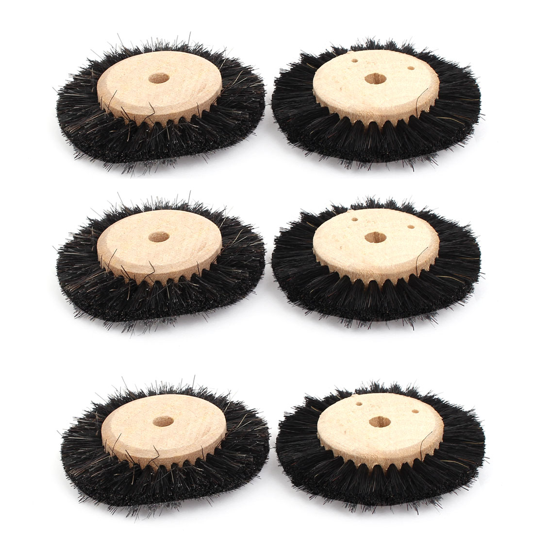 65mm Dia Wooden Hub 2 Rows Bristle Wheel Brushes Grinding Buffing Tools 6pcs