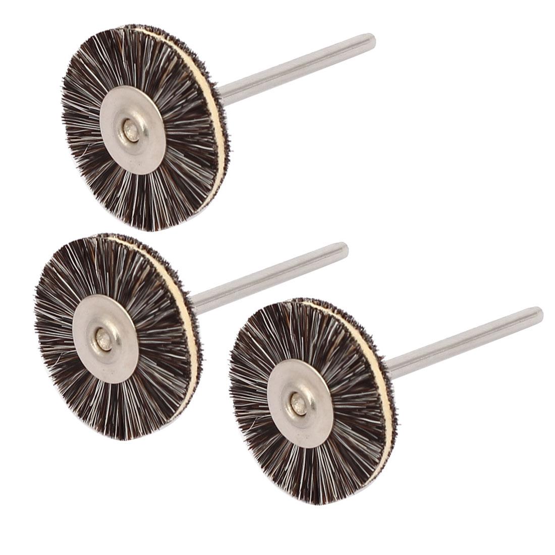 2.35mm Dia Shank 22mm Round Head Bristle Faux Cowhide Polishing Brushes 3pcs