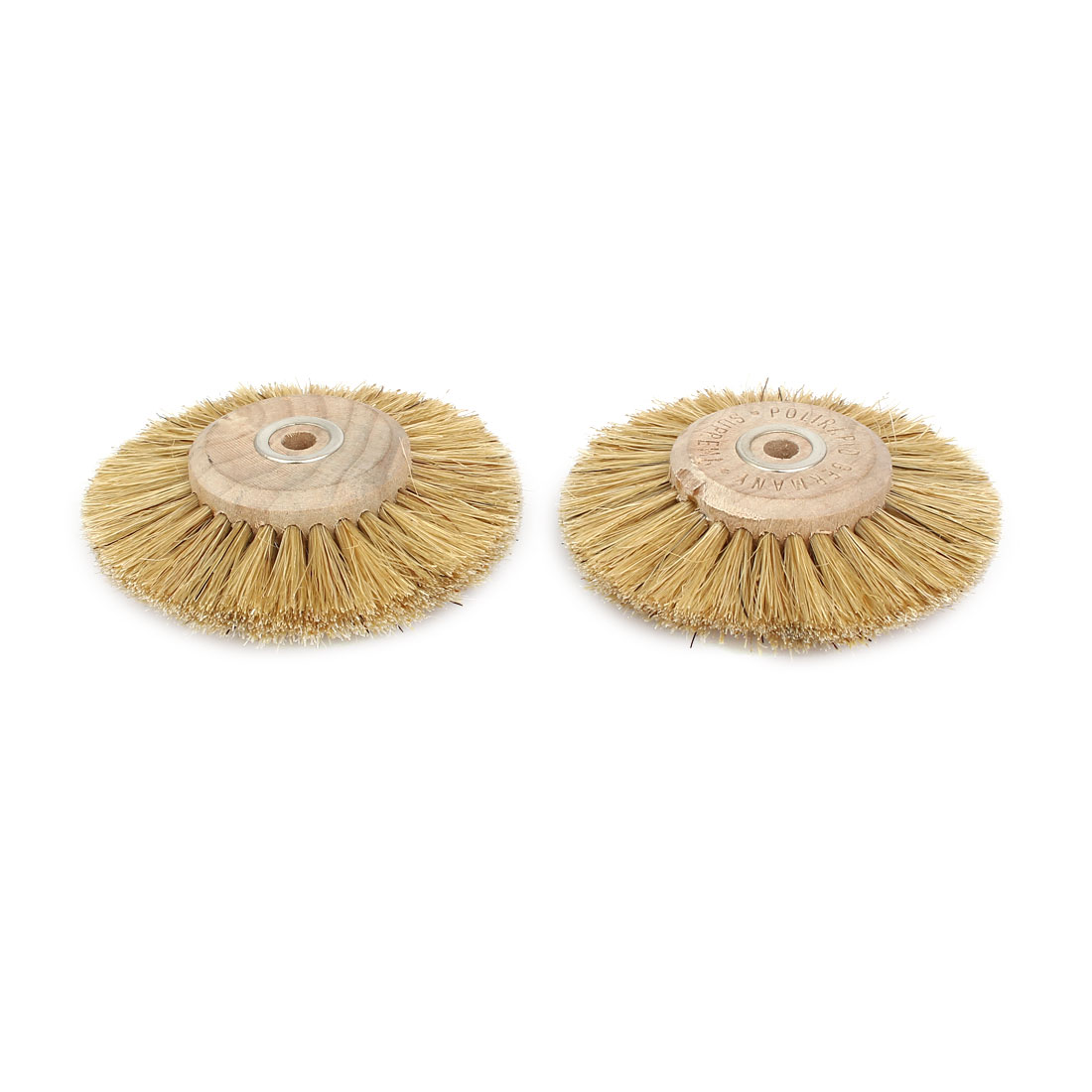 80mm Dia Wooden Hub 4 Rows Bristle Wheel Brush Grinding Cleaning Tool Beige 2pcs