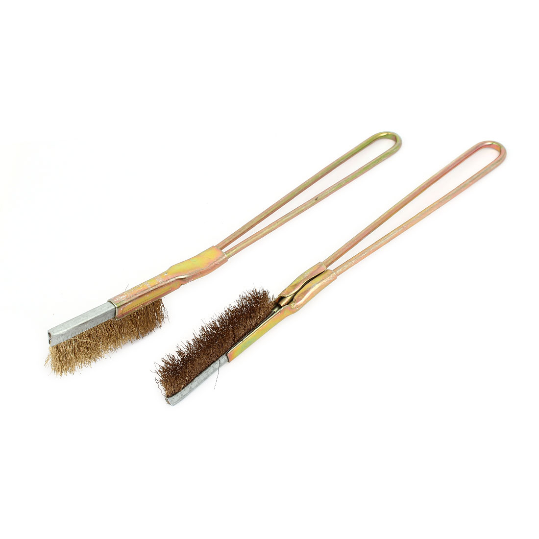 150mm Handle Length Straight Head Brass Wire Brushes 2pcs for Cleaning Rust