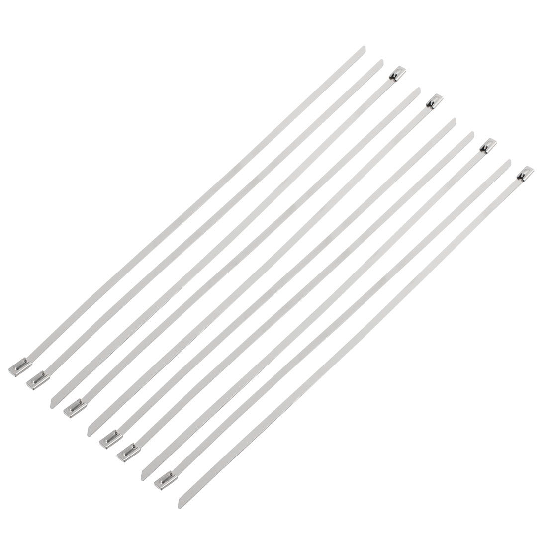 10pcs 4.6x300mm Stainless Steel Metal Exhaust Pipe Header Cable Zip Tie Strap