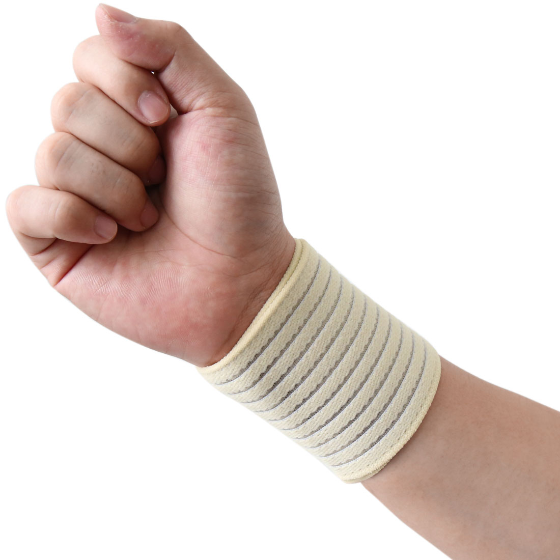 Beige Elastic Sports Wrist Brace Band Hand Palm Wrap Bandage Guard Supporter