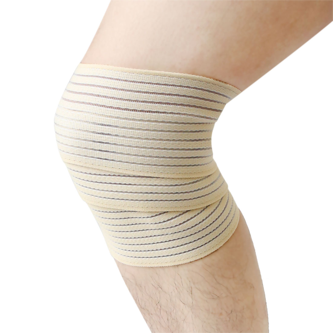 Beige Breathable Elastic Leg Support Wrap Bandage Brace Sprain Joint Protection