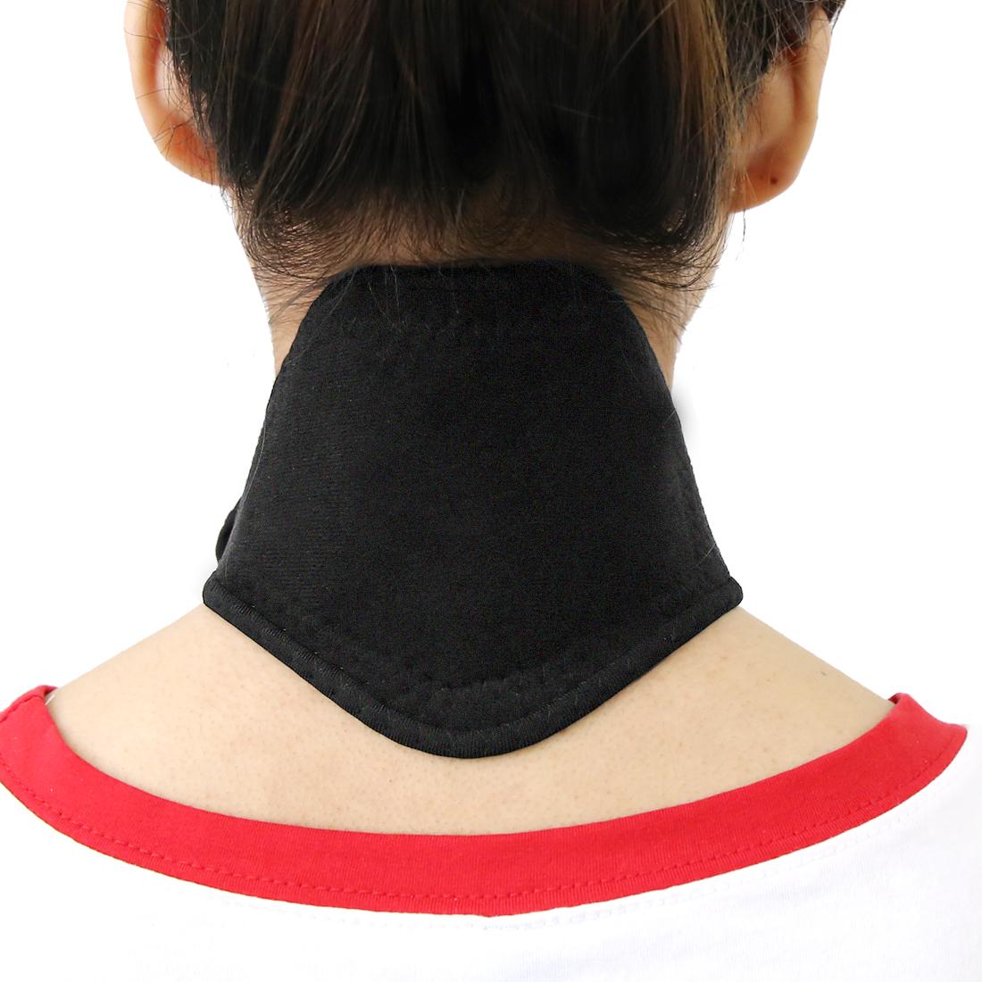 Black Unisex Magnet Massage Neck Pad Wrap Brace Support Strap Protector