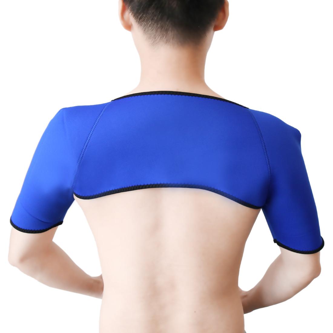 Blue L Size Neoprene Elastic Sports Injury Protect Both Shoulder Brace Support