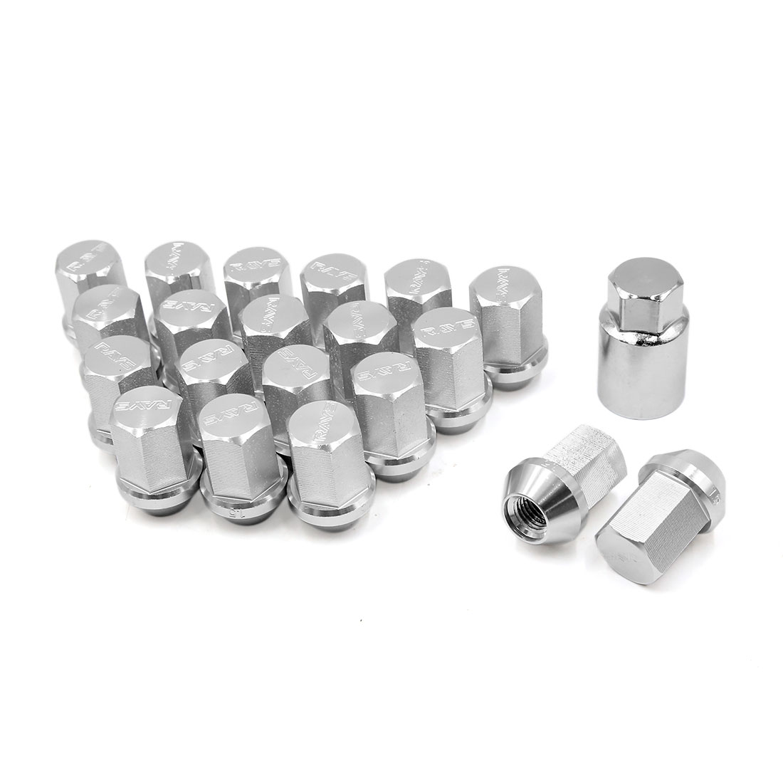 20Pcs Silver Tone Hex Security Lock Wheel Lug Nuts M12 x 1.25 Screw for Auto Car