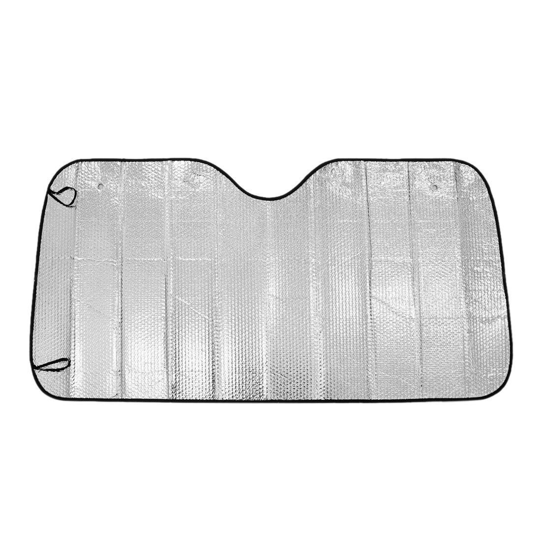 Black Silver Tone Car Windshield Sunshade Shield Front Rear Wind Foldable Kit