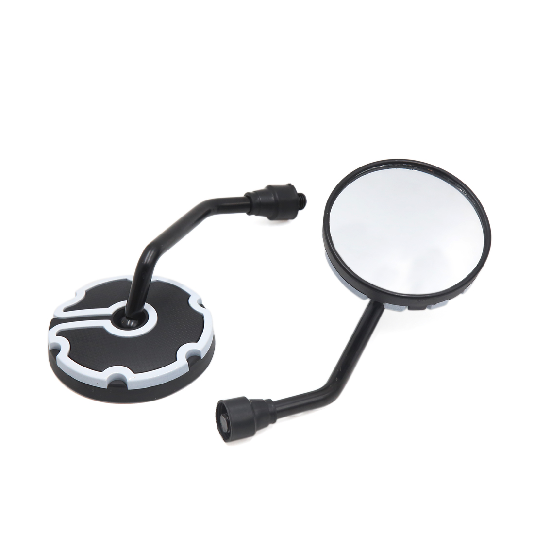 2 Pcs 10mm Thread Dia Round Shaped Adjustable Motorcycle Rearview Side Mirrors White Black