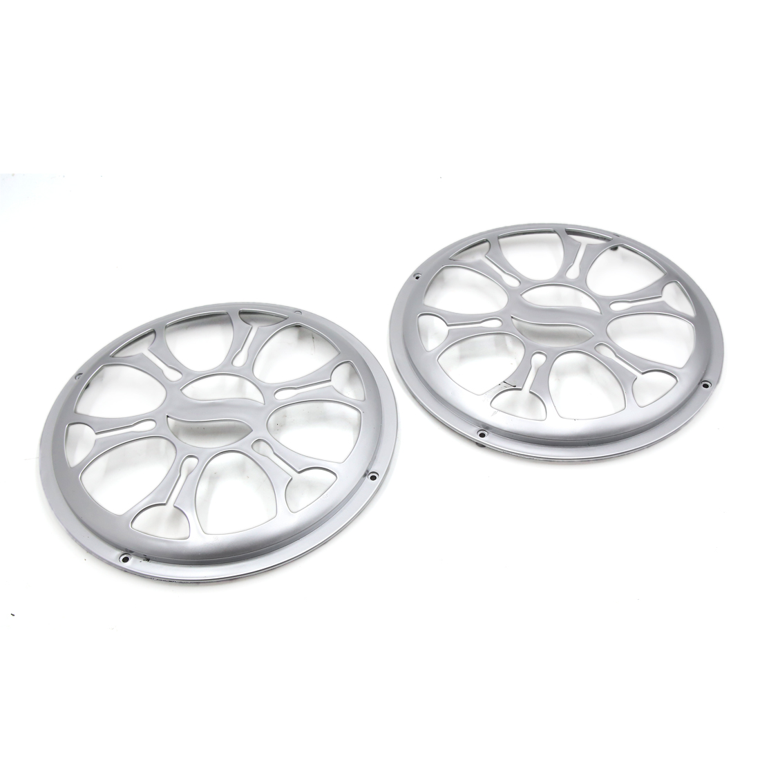 "2 Pcs 10"" Dia Silver Tone Plastic Audio Speaker Subwoofer Dust Cover Protector for Auto Car"