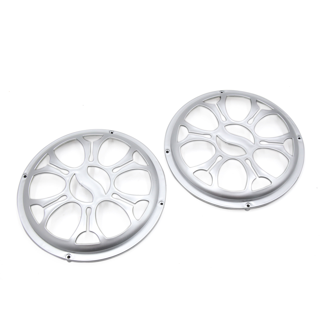 "2 Pcs 8"" Dia Silver Tone Plastic Audio Speaker Subwoofer Dust Cover Protector for Auto Car"