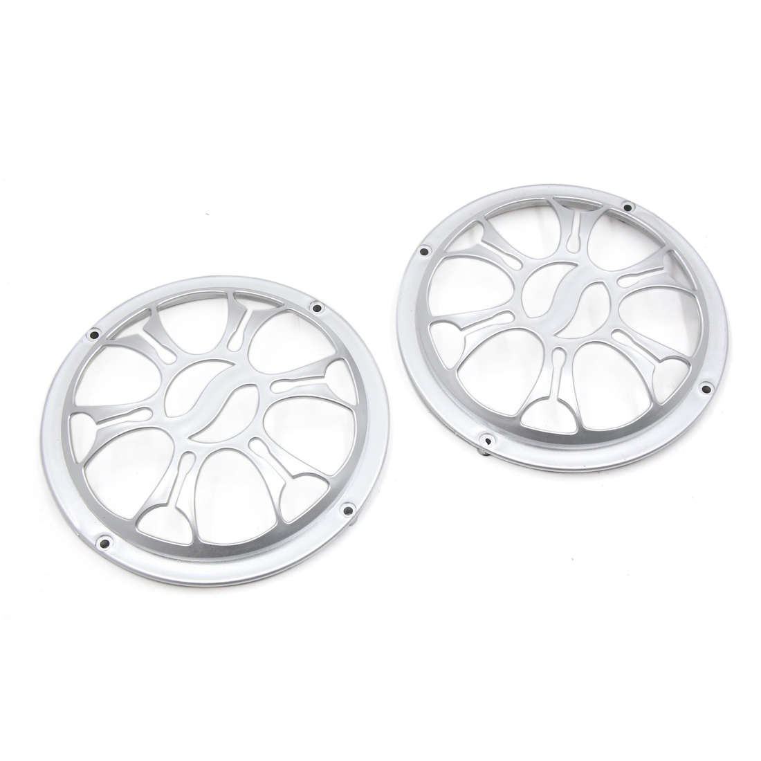 "2 Pcs 6"" Dia Silver Tone Plastic Audio Speaker Subwoofer Dust Cover Protector for Auto Car"