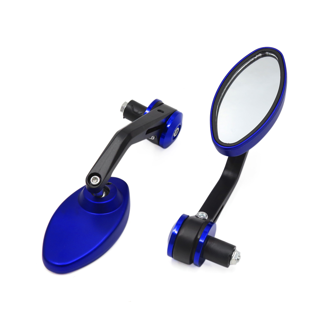 2 Pcs 6mm Thread Dia Oval Shaped Adjustable Motorcycle Rearview Side Mirrors Blue