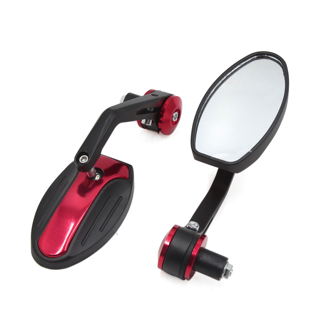 2 Pcs 6mm Thread Dia Metal Handle Adjustable Motorcycle Rearview Side Mirrors Red Black